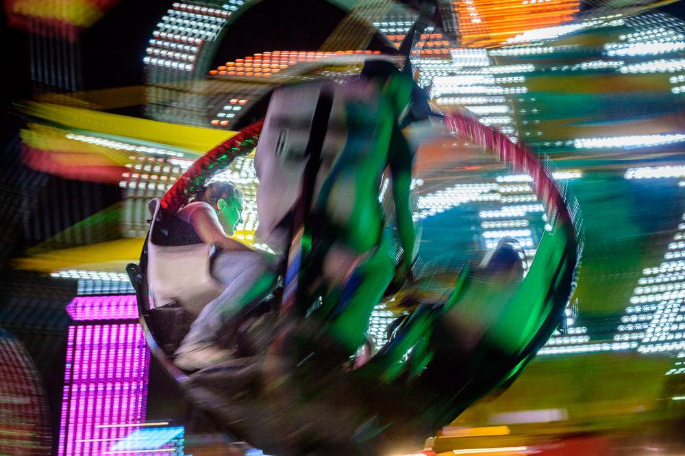 Blurred carnival ride